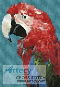 cross stitch pattern Mini Green-winged Macaw