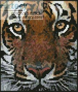 cross stitch pattern Mini Bengal Tiger Face