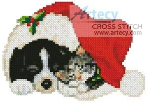 cross stitch pattern Mini Xmas Cat and Dog