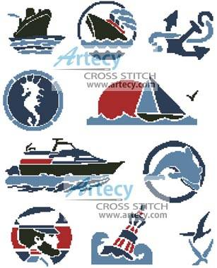 cross stitch pattern Nautical Motifs 2