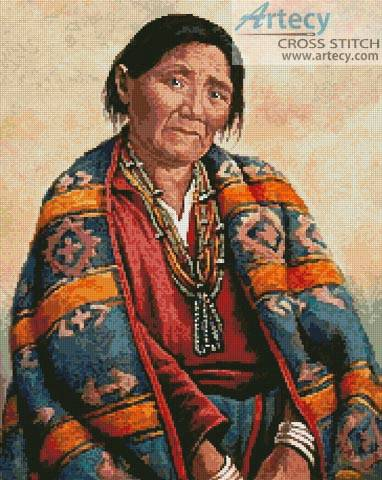 cross stitch pattern Navajo Indian Woman