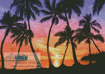 cross stitch pattern Palm Beach Sundown