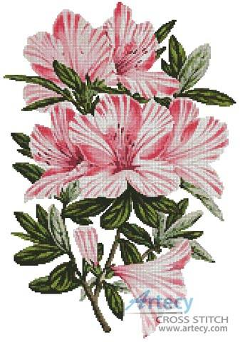 cross stitch pattern Pink Azaleas