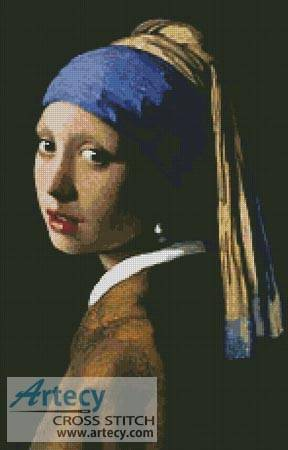 cross stitch pattern Girl with a Pearl Earring