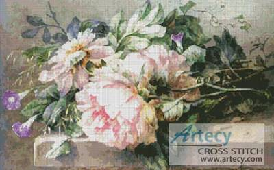 cross stitch pattern Still life with Peonies   Morning Glory