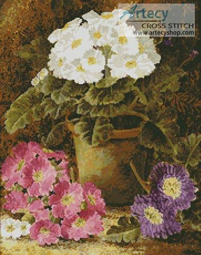 cross stitch pattern Potted Flowers