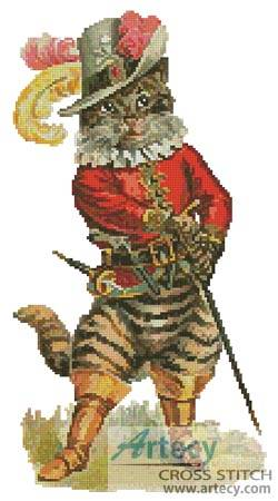 cross stitch pattern Puss in Boots 2