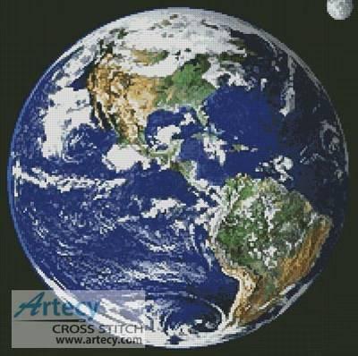 cross stitch pattern Planet Earth