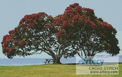 cross stitch pattern Pohutukawa Trees