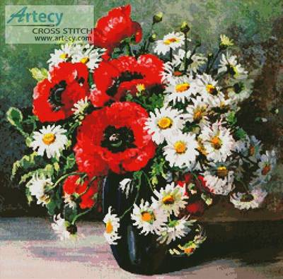 cross stitch pattern Poppies and Daisies
