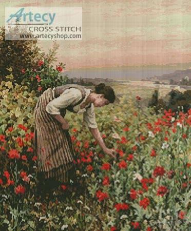 cross stitch pattern Girl Picking Poppies