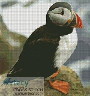 cross stitch pattern Puffin 3