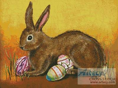 cross stitch pattern Rabbit with Eggs