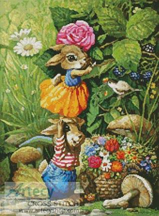 cross stitch pattern Rabbits picking Flowers