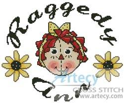 cross stitch pattern Raggedy Ann Circle