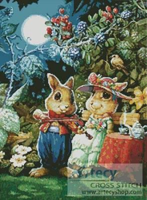 cross stitch pattern Rabbit Playing the Violin