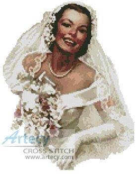 cross stitch pattern Retro Bride