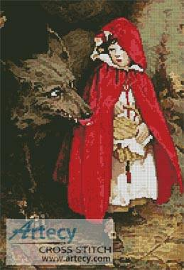 cross stitch pattern Red Riding Hood and Wolf