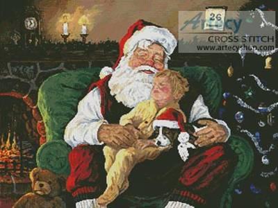 cross stitch pattern Santa with Child