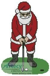 cross stitch pattern Santa Playing Golf