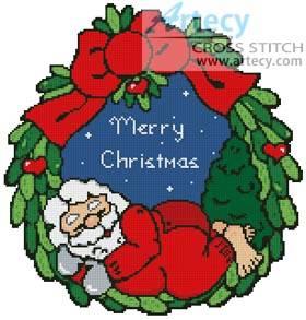 cross stitch pattern Sleeping Santa Wreath