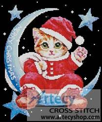 cross stitch pattern Santa on the Moon