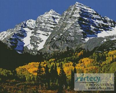 cross stitch pattern Snow Mountains