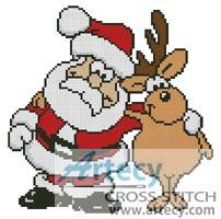 cross stitch pattern Santa and Reindeer
