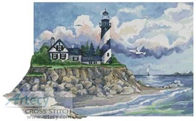 cross stitch pattern Spiral Lighthouse
