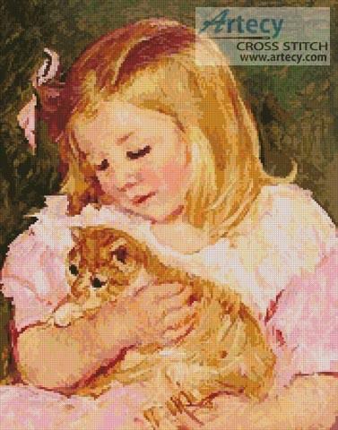 cross stitch pattern Sara holding a Cat
