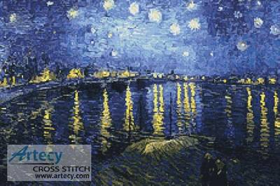 cross stitch pattern Starry Night over the Rhone