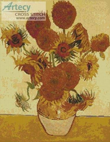 cross stitch pattern Fourteen Sunflowers