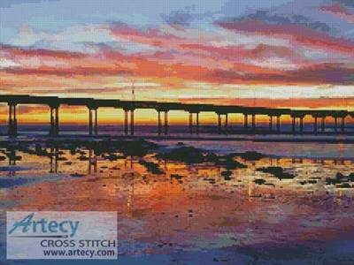 cross stitch pattern Sunset at Ocean Beach