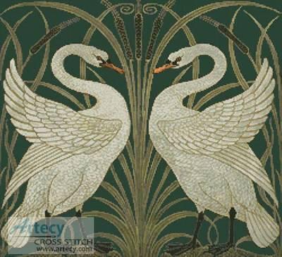 cross stitch pattern Swans