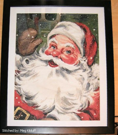 cross stitch pattern Santa Waving