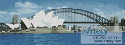 cross stitch pattern Sydney Harbour in the Day