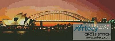 cross stitch pattern Sydney Harbour at Night