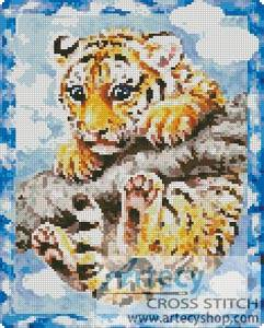 cross stitch pattern Tiger Cub on a Branch