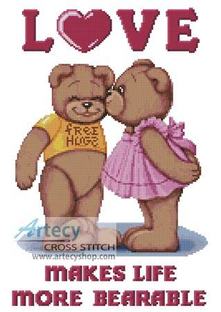 cross stitch pattern Teddy Love