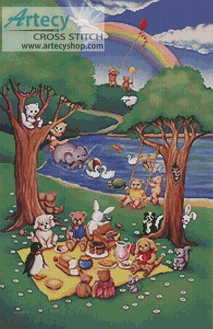 cross stitch pattern Teddy and Friends Picnic