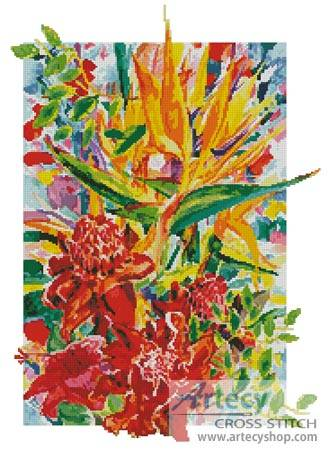 cross stitch pattern Torch Ginger and Bird of Paradise