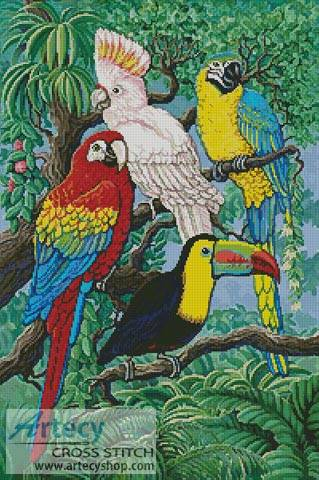 Tropical Birds Cross Stitch Pattern Parrot