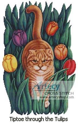 cross stitch pattern Tiptoe through the Tulips