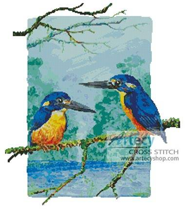 cross stitch pattern Two Azure Kingfishers