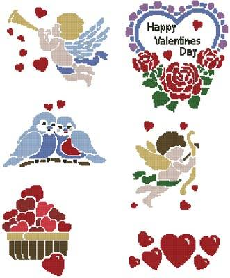 cross stitch pattern Valentine's Day Motifs