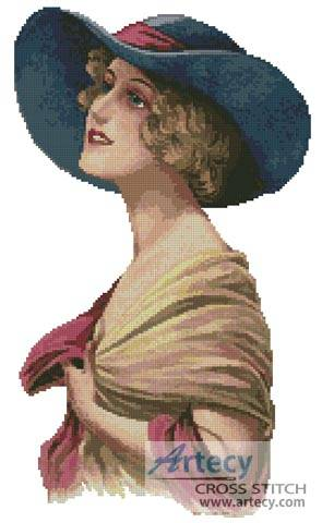 cross stitch pattern Victorian Blue Hat