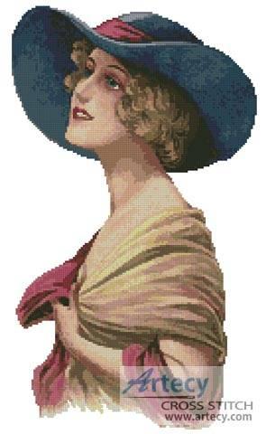 cross stitch pattern Victorian Blue Hat