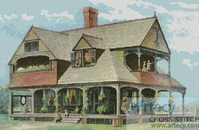 cross stitch pattern Victorian House 3
