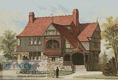 cross stitch pattern Victorian House 4