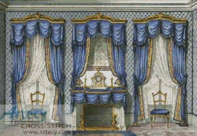 cross stitch pattern Victorian Salon Room
